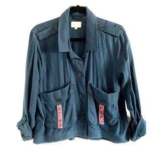 Jolt Navy Blue Linen Jacket